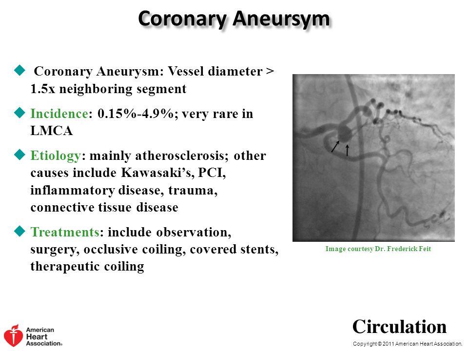 Copyright © 2011 American Heart Association. Coronary Aneursym  Coronary Aneurysm: Vessel diameter > 1.5x neighboring segment  Incidence: 0.15%-4.9%