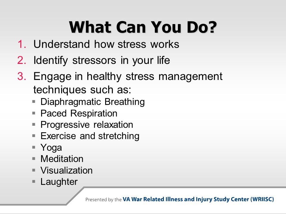 Stress Response Controlled by the Autonomic Nervous System  Controls the body's reaction to stress by through a balance between its 2 branches:  Sympathetic  responsible for the fight-or-flight response  Parasympathetic  responsible for the relaxation response