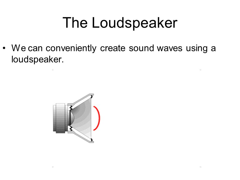 The Loudspeaker We can conveniently create sound waves using a loudspeaker.