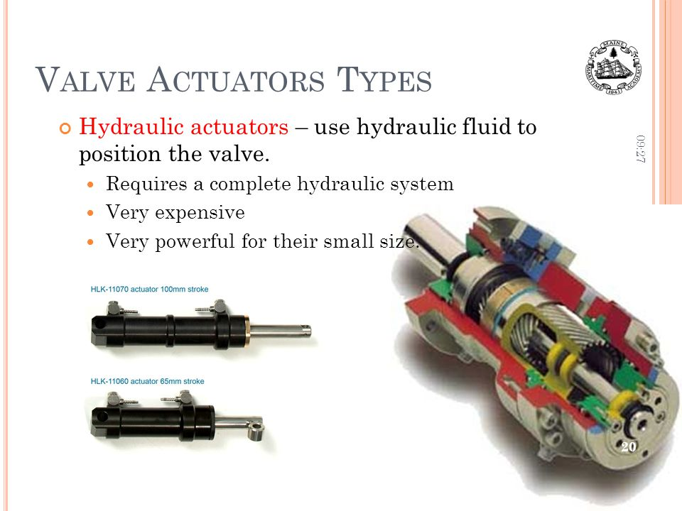 V ALVE A CTUATORS T YPES Hydraulic actuators – use hydraulic fluid to position the valve.