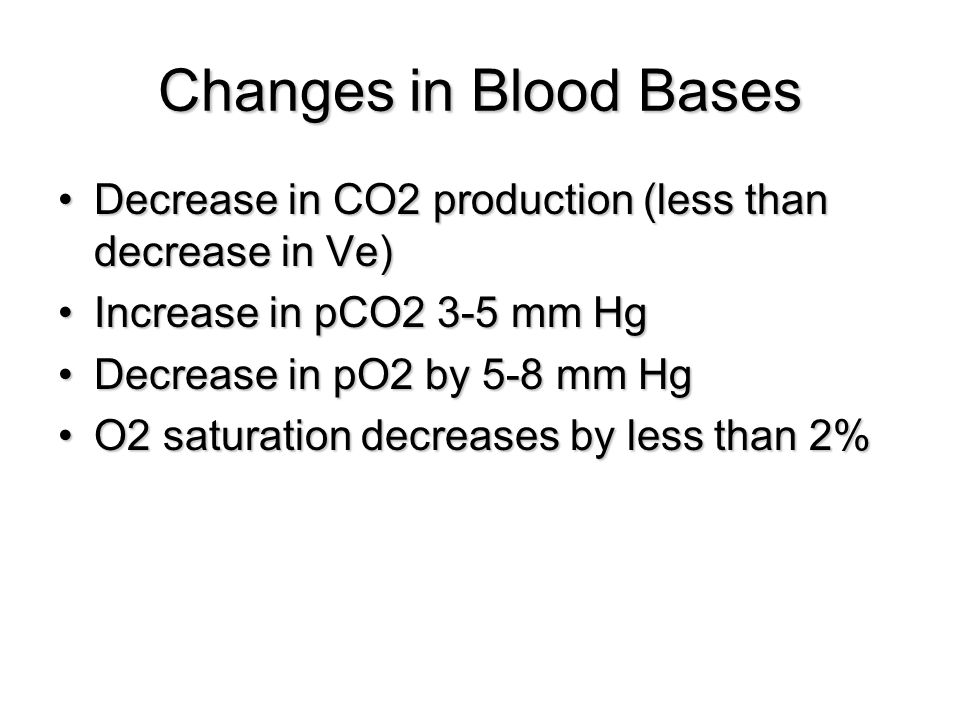 Changes in Blood Bases Decrease in CO2 production (less than decrease in Ve)Decrease in CO2 production (less than decrease in Ve) Increase in pCO2 3-5 mm HgIncrease in pCO2 3-5 mm Hg Decrease in pO2 by 5-8 mm HgDecrease in pO2 by 5-8 mm Hg O2 saturation decreases by less than 2%O2 saturation decreases by less than 2%