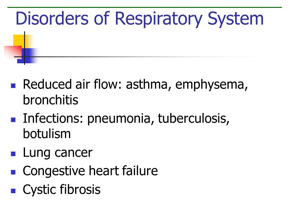 Reduced air flow: asthma, emphysema, bronchitis Infections: pneumonia, tuberculosis, botulism Lung cancer Congestive heart failure Cystic fibrosis Disorders of Respiratory System