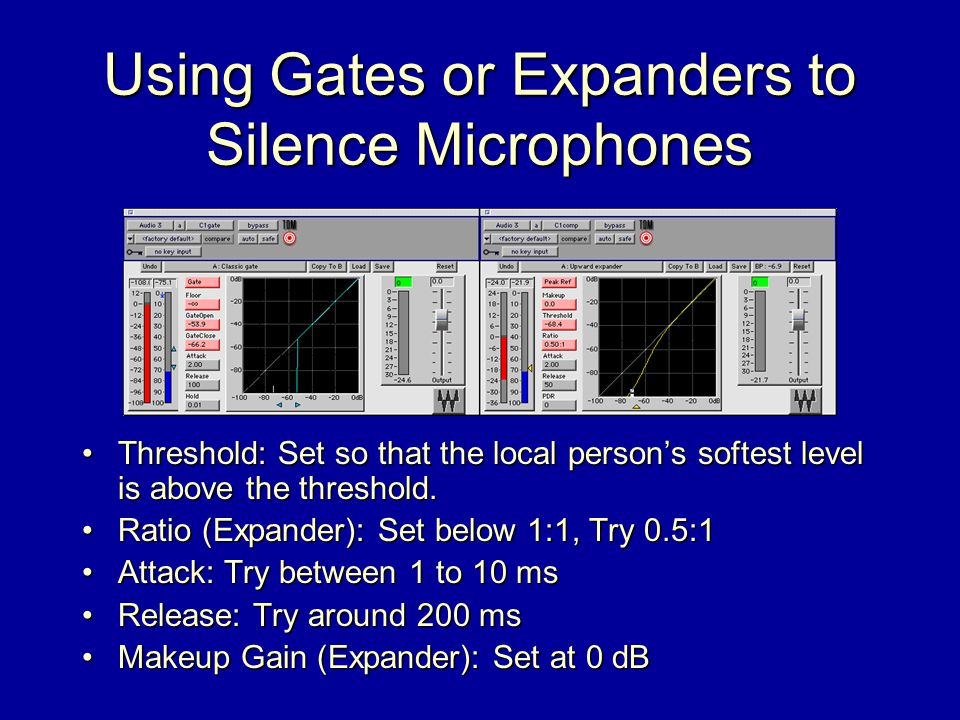 Using Gates or Expanders to Silence Microphones Threshold: Set so that the local person's softest level is above the threshold.