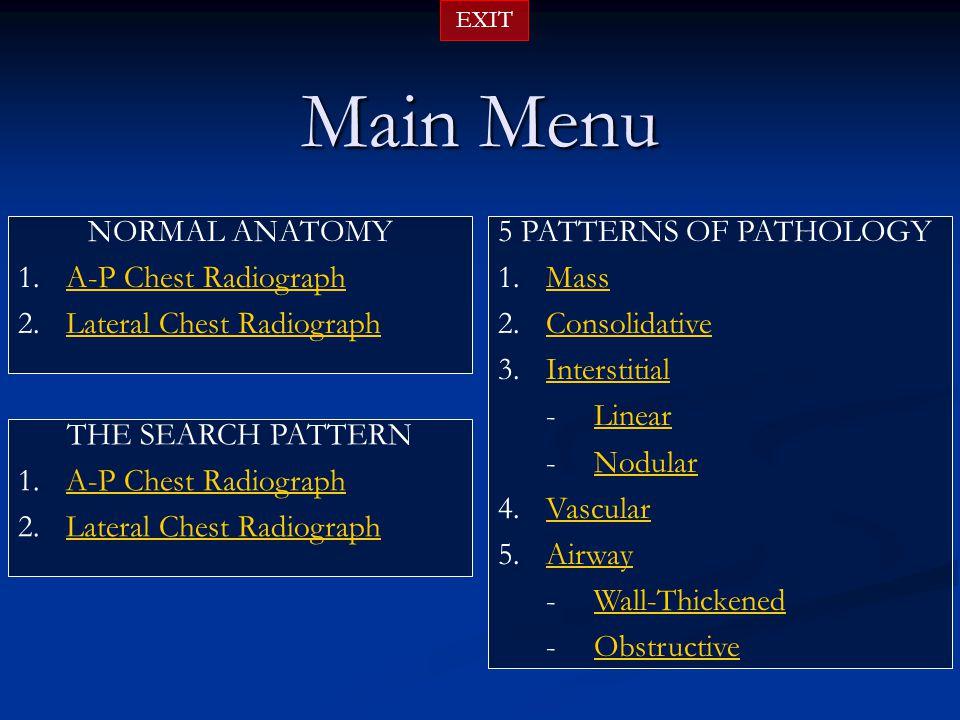 Main Menu 5 PATTERNS OF PATHOLOGY 1.MassMass 2.ConsolidativeConsolidative 3.InterstitialInterstitial -LinearLinear -NodularNodular 4.VascularVascular