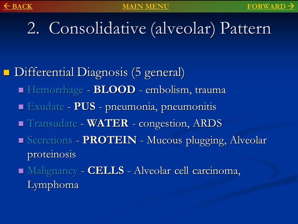 2. Consolidative (alveolar) Pattern Differential Diagnosis (5 general) Differential Diagnosis (5 general) Hemorrhage - BLOOD - embolism, trauma Hemorr