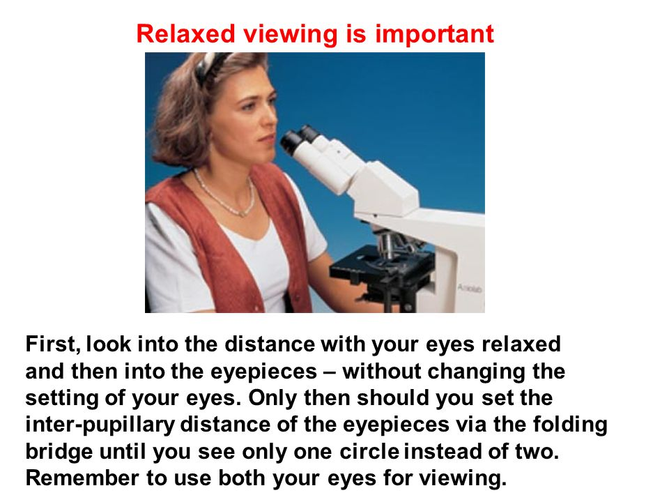 First, look into the distance with your eyes relaxed and then into the eyepieces – without changing the setting of your eyes.