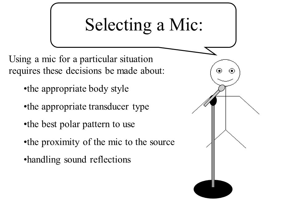 Selecting a Mic: Using a mic for a particular situation requires these decisions be made about: the appropriate body style the appropriate transducer type the best polar pattern to use the proximity of the mic to the source handling sound reflections