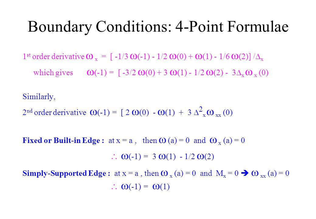 Boundary Conditions  (-1) o o o o  (1)  (0)  (2) xx  (-1) o o o o o  (1)  (0)  (2) xx  (3) 4-Point Formulae5-Point Formulae