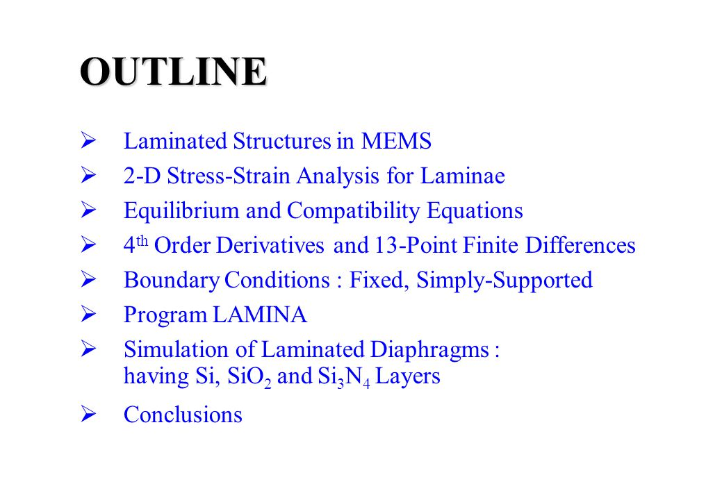 2-D Simulation of Laminating Stresses and Strains in MEMS Structures Prakash R.