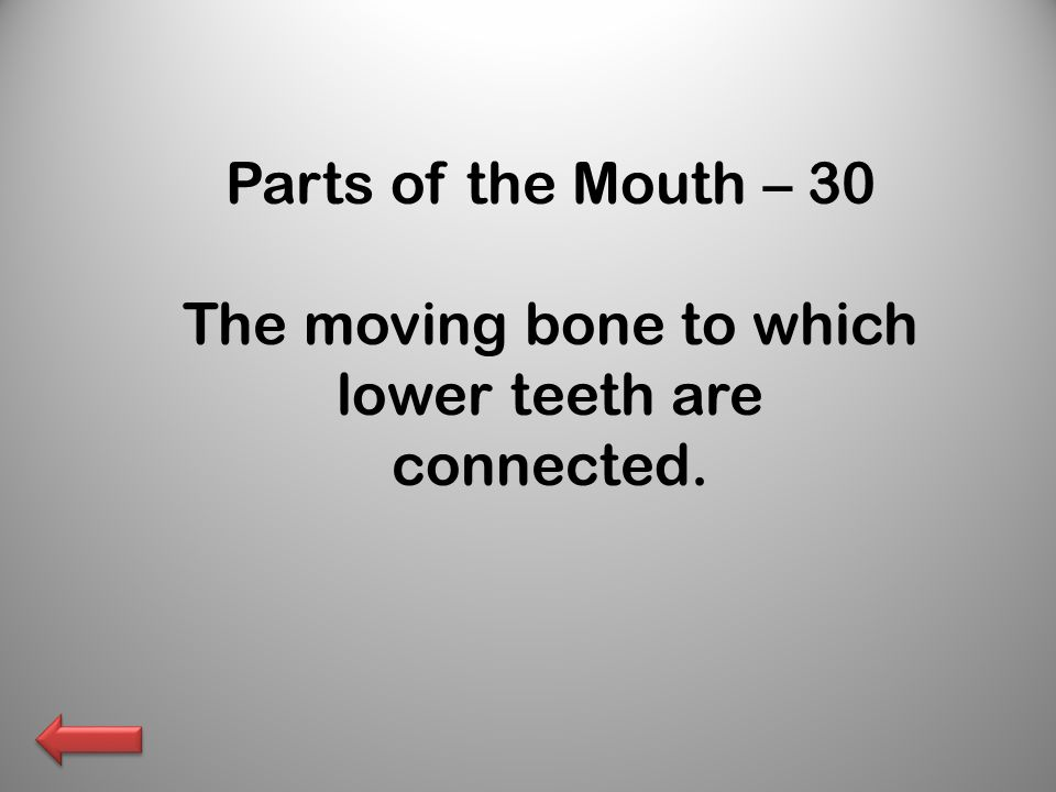 Parts of the Mouth – 30 The moving bone to which lower teeth are connected.