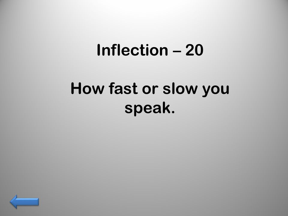 Inflection – 20 How fast or slow you speak.