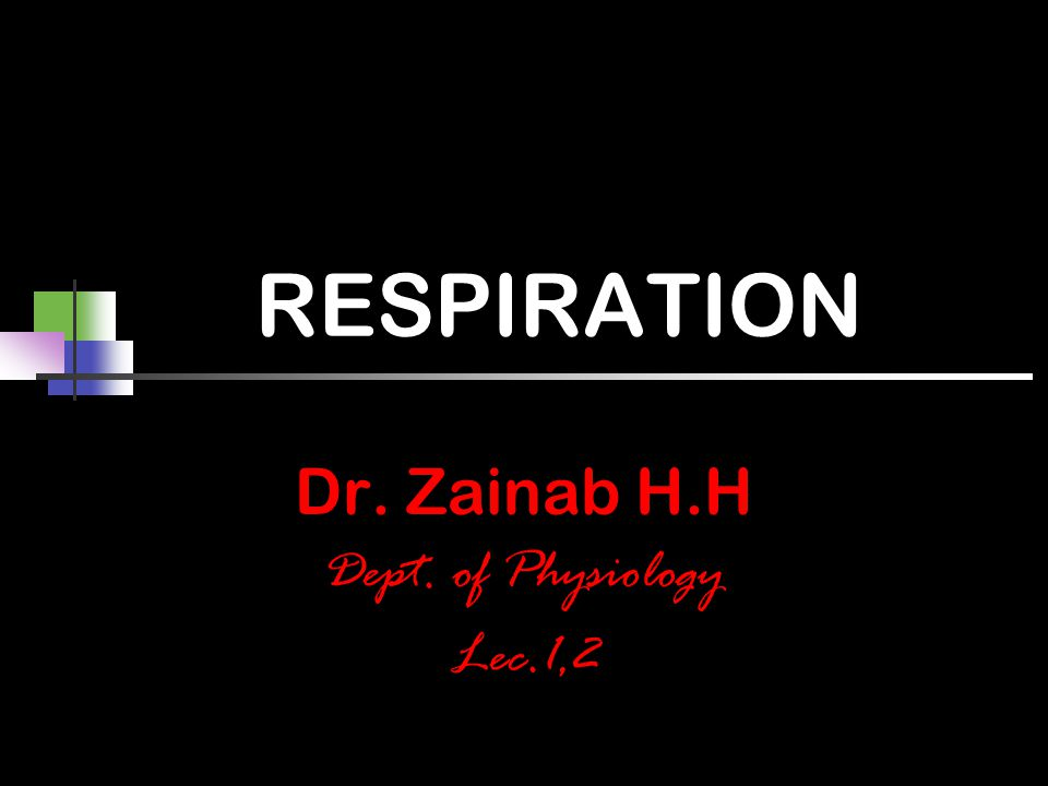 RESPIRATION Dr. Zainab H.H Dept. of Physiology Lec.1,2