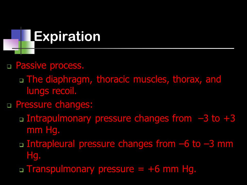 Expiration  Passive process.  The diaphragm, thoracic muscles, thorax, and lungs recoil.  Pressure changes:  Intrapulmonary pressure changes from