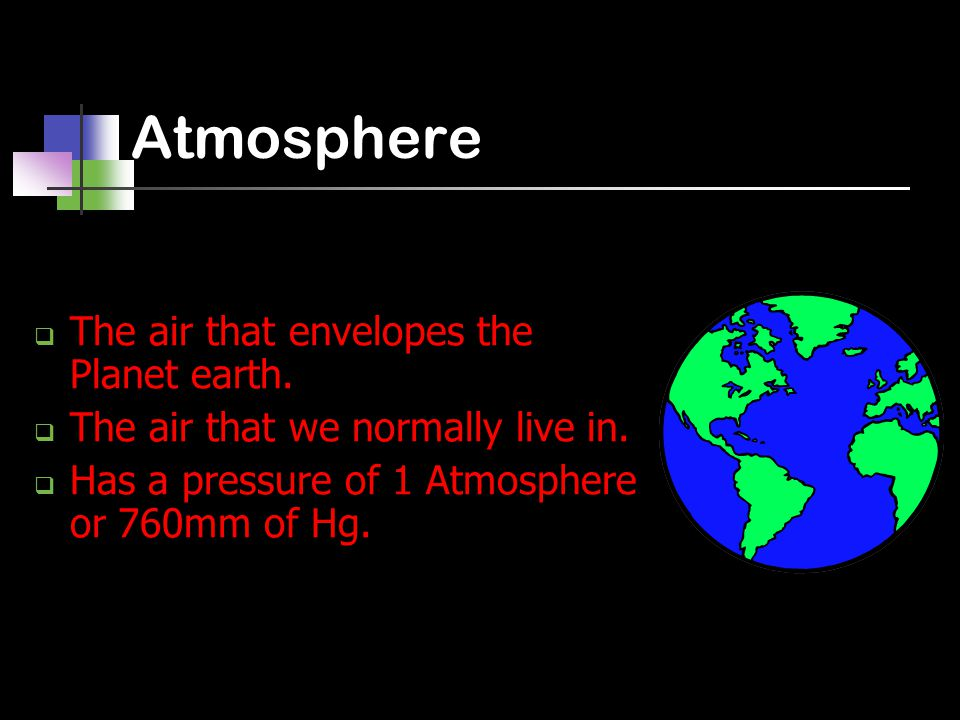 Atmosphere  The air that envelopes the Planet earth.  The air that we normally live in.  Has a pressure of 1 Atmosphere or 760mm of Hg.