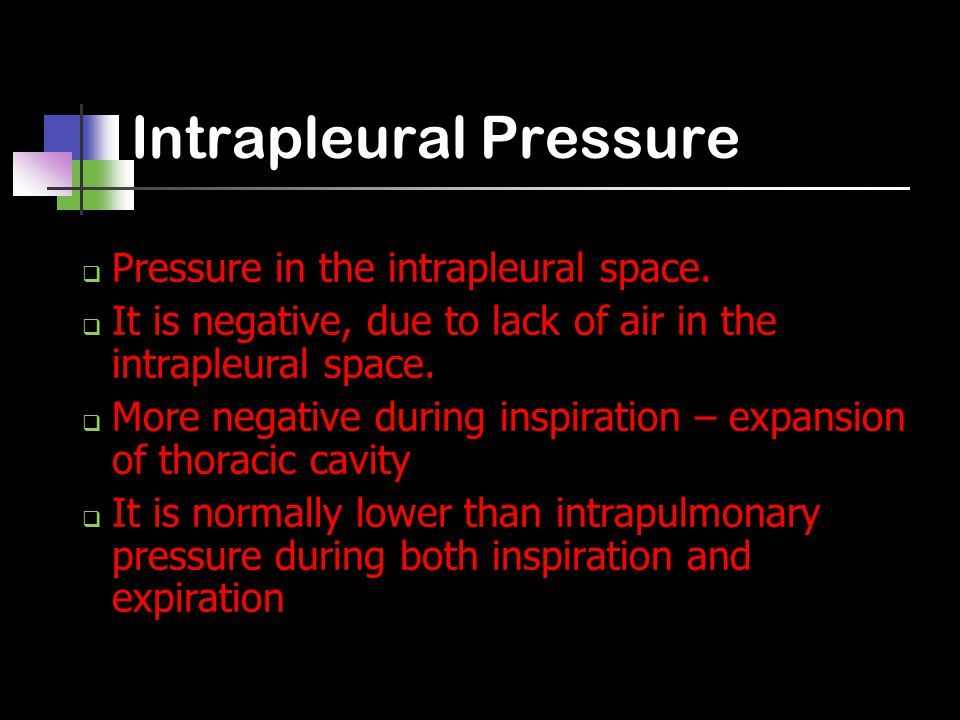 Intrapleural Pressure  Pressure in the intrapleural space.