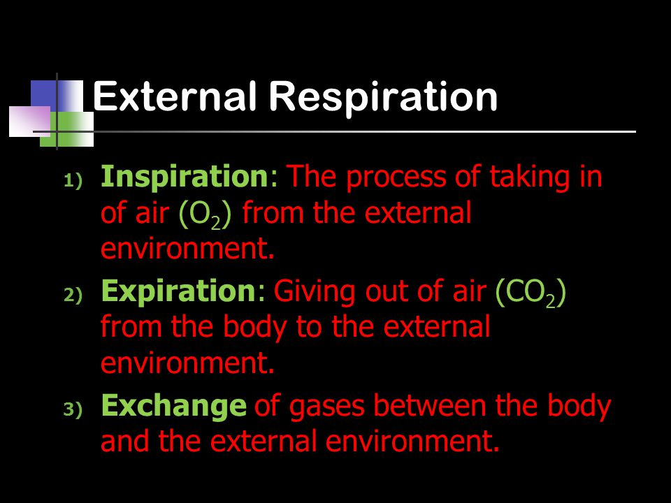 External Respiration 1) Inspiration: The process of taking in of air (O 2 ) from the external environment. 2) Expiration: Giving out of air (CO 2 ) fr