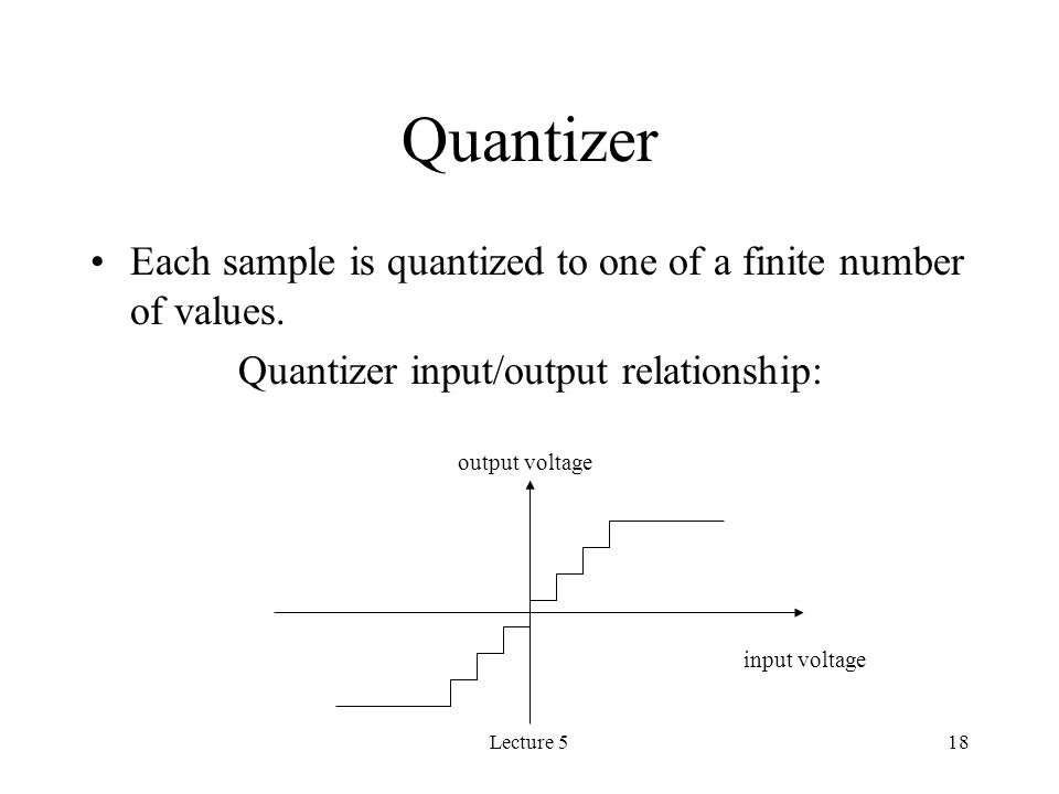 Lecture 518 Quantizer Each sample is quantized to one of a finite number of values.