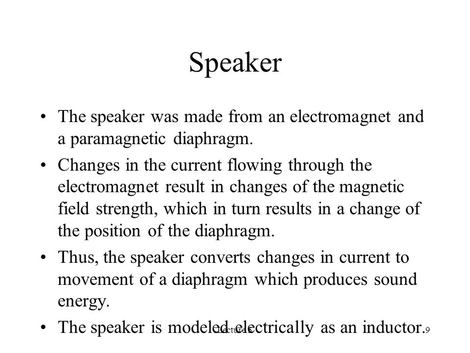 Lecture 59 Speaker The speaker was made from an electromagnet and a paramagnetic diaphragm.