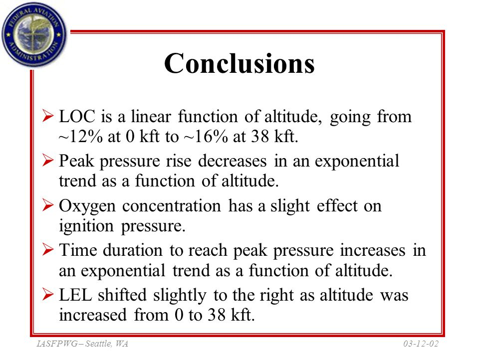03-12-02IASFPWG – Seattle, WA Conclusions  LOC is a linear function of altitude, going from ~12% at 0 kft to ~16% at 38 kft.  Peak pressure rise dec