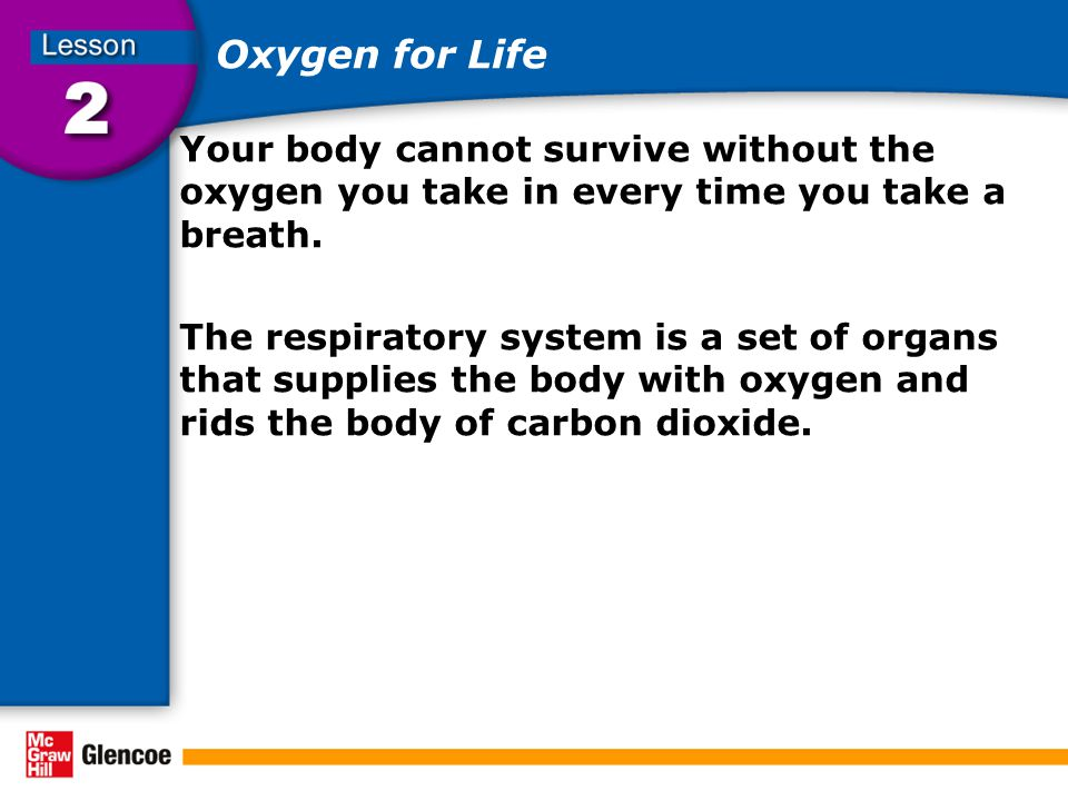 Oxygen for Life Your body cannot survive without the oxygen you take in every time you take a breath.