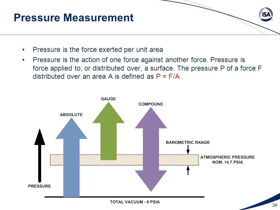 4# Pressure Measurement Terms Absolute Pressure Measured above total vacuum or zero absolute.
