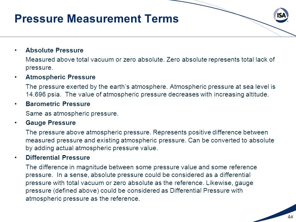 25# Pressure Transmitter Typical Outputs –4 to 20 milliamp (mA).