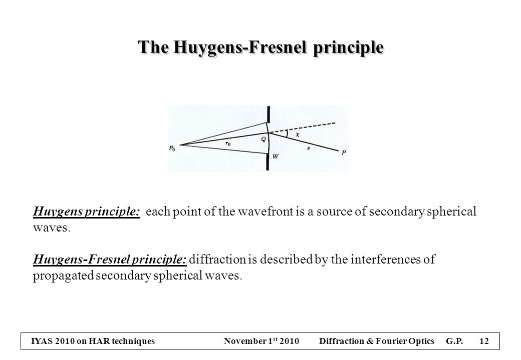 IYAS 2010 on HAR techniques November 1 st 2010 Diffraction & Fourier Optics G.P. 12 The Huygens-Fresnel principle Huygens principle: each point of the