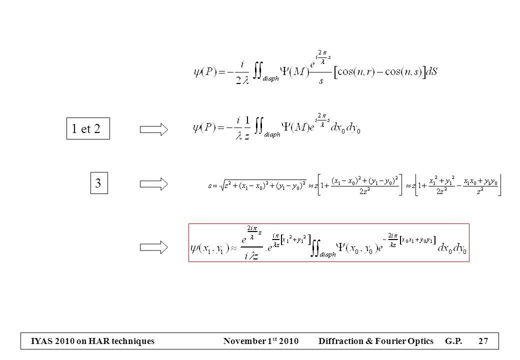 IYAS 2010 on HAR techniques November 1 st 2010 Diffraction & Fourier Optics G.P. 27 1 et 2 3