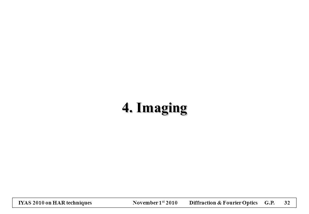 IYAS 2010 on HAR techniques November 1 st 2010 Diffraction & Fourier Optics G.P. 32 4. Imaging