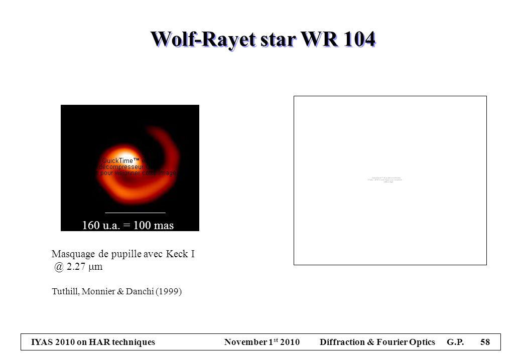 IYAS 2010 on HAR techniques November 1 st 2010 Diffraction & Fourier Optics G.P. 58 Masquage de pupille avec Keck I @ 2.27  m Tuthill, Monnier & Danc
