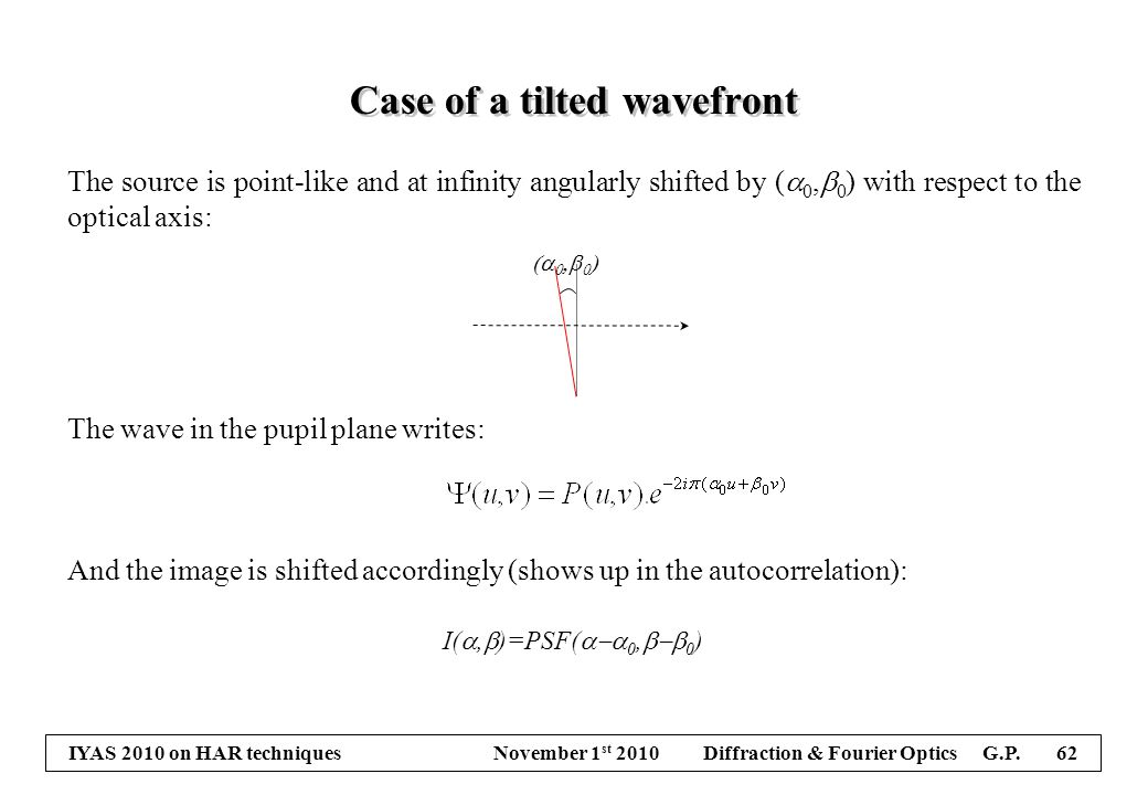 IYAS 2010 on HAR techniques November 1 st 2010 Diffraction & Fourier Optics G.P. 62 Case of a tilted wavefront The source is point-like and at infinit