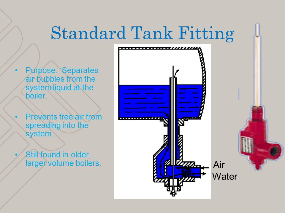 9 Standard Tank Fitting Purpose: Separates air bubbles from the system liquid at the boiler.