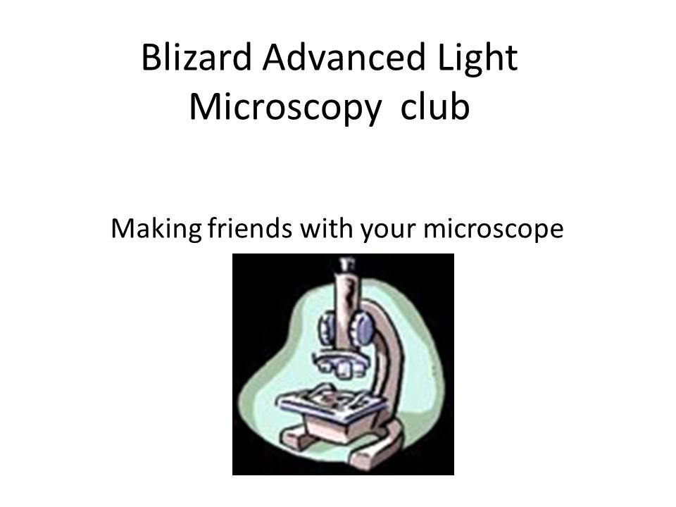 Blizard Advanced Light Microscopy club Making friends with your microscope