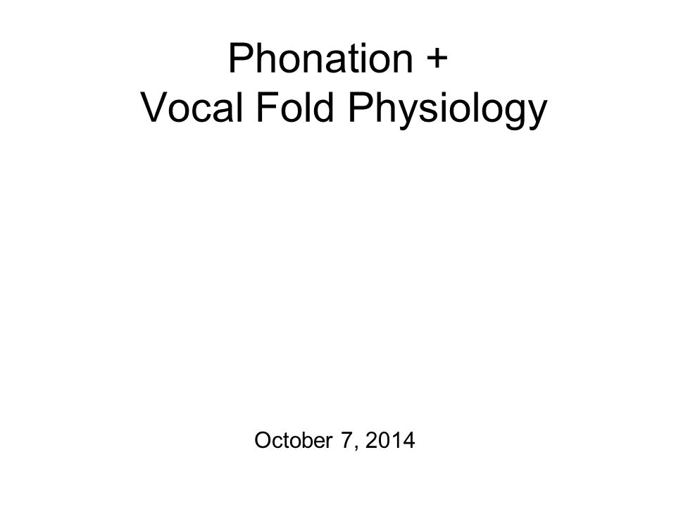 Phonation + Vocal Fold Physiology October 7, 2014