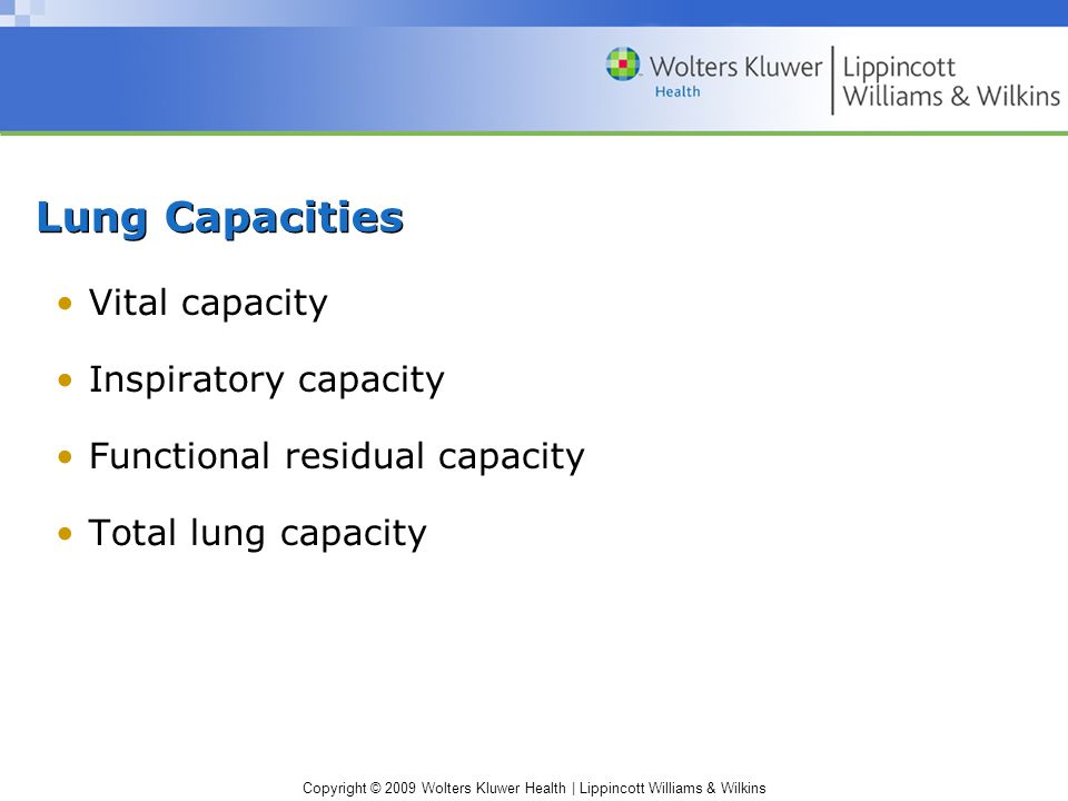 Copyright © 2009 Wolters Kluwer Health | Lippincott Williams & Wilkins Lung Capacities Vital capacity Inspiratory capacity Functional residual capacity Total lung capacity