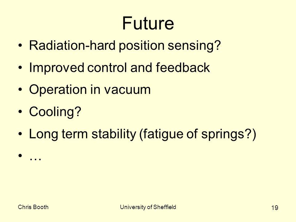 Chris BoothUniversity of Sheffield 19 Future Radiation-hard position sensing.
