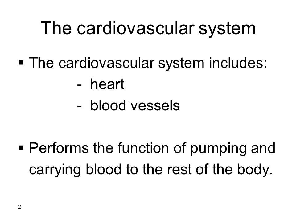 2  The cardiovascular system includes: - heart - blood vessels  Performs the function of pumping and carrying blood to the rest of the body.