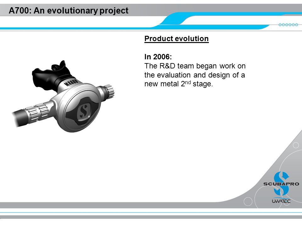 A700: An evolutionary project Product evolution In 2006: The R&D team began work on the evaluation and design of a new metal 2 nd stage.