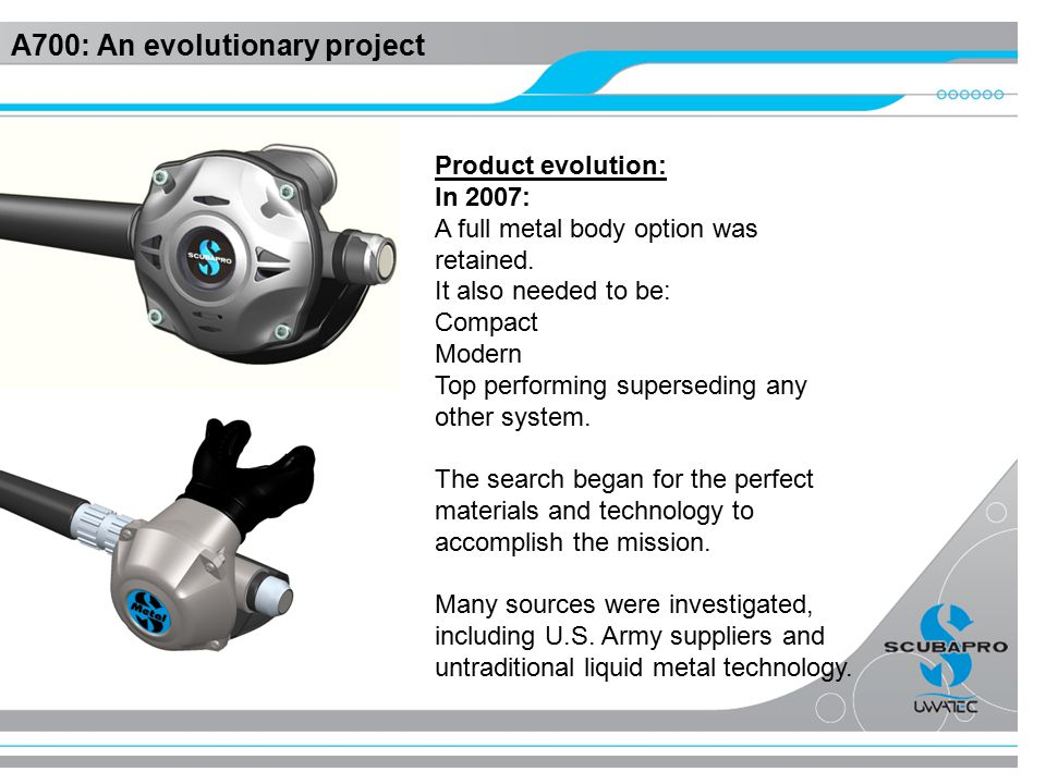 A700: An evolutionary project Product evolution: In 2007: A full metal body option was retained.