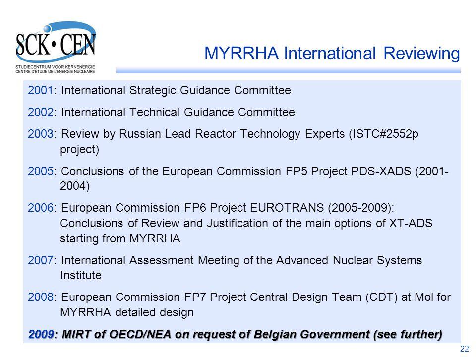 22 MYRRHA International Reviewing 2001: International Strategic Guidance Committee 2002: International Technical Guidance Committee 2003: Review by Ru