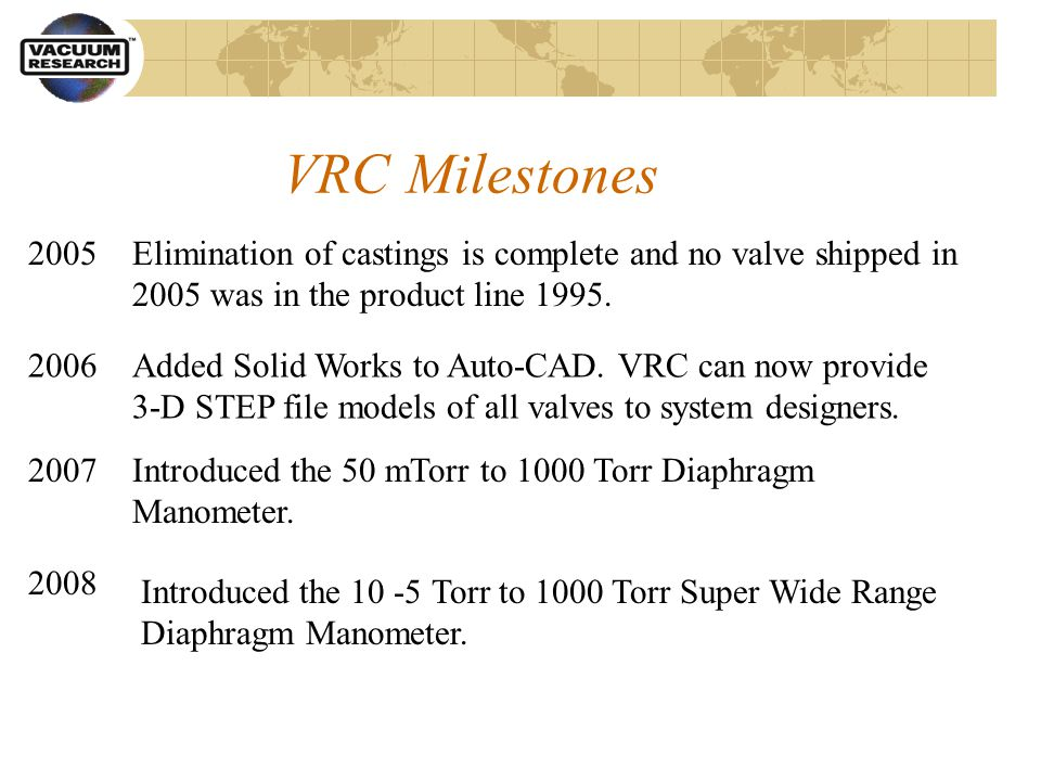 VRC Milestones Elimination of castings is complete and no valve shipped in 2005 was in the product line 1995.