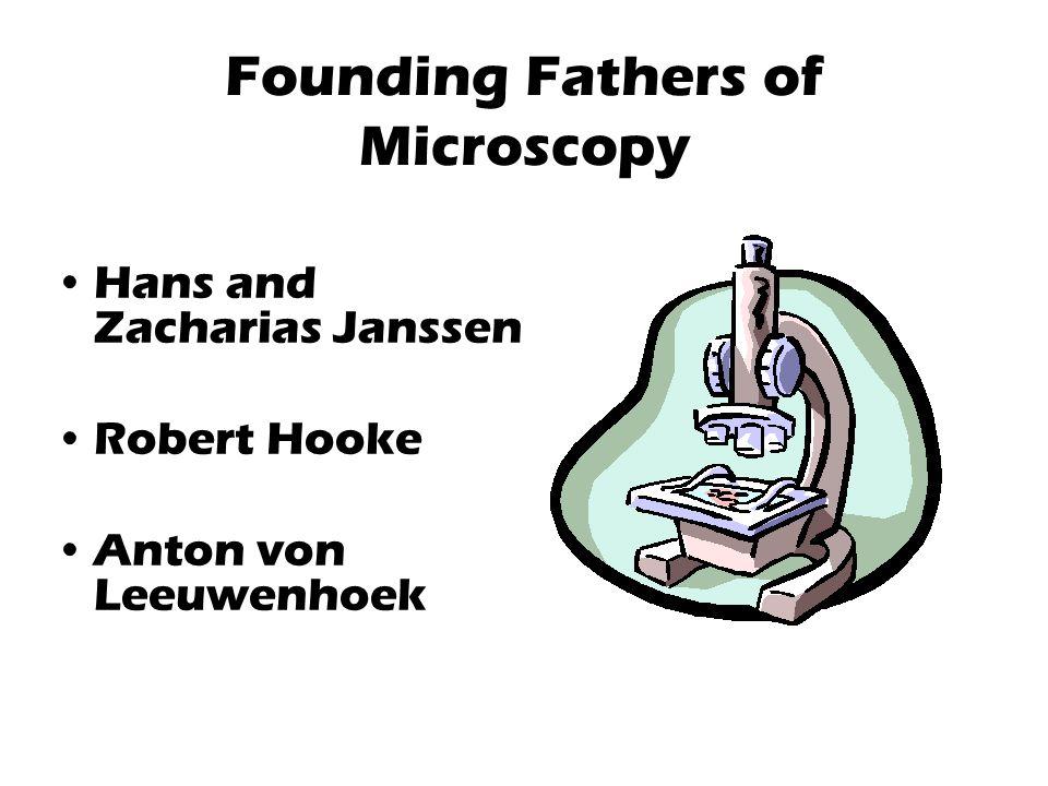 Founding Fathers of Microscopy Hans and Zacharias Janssen Robert Hooke Anton von Leeuwenhoek
