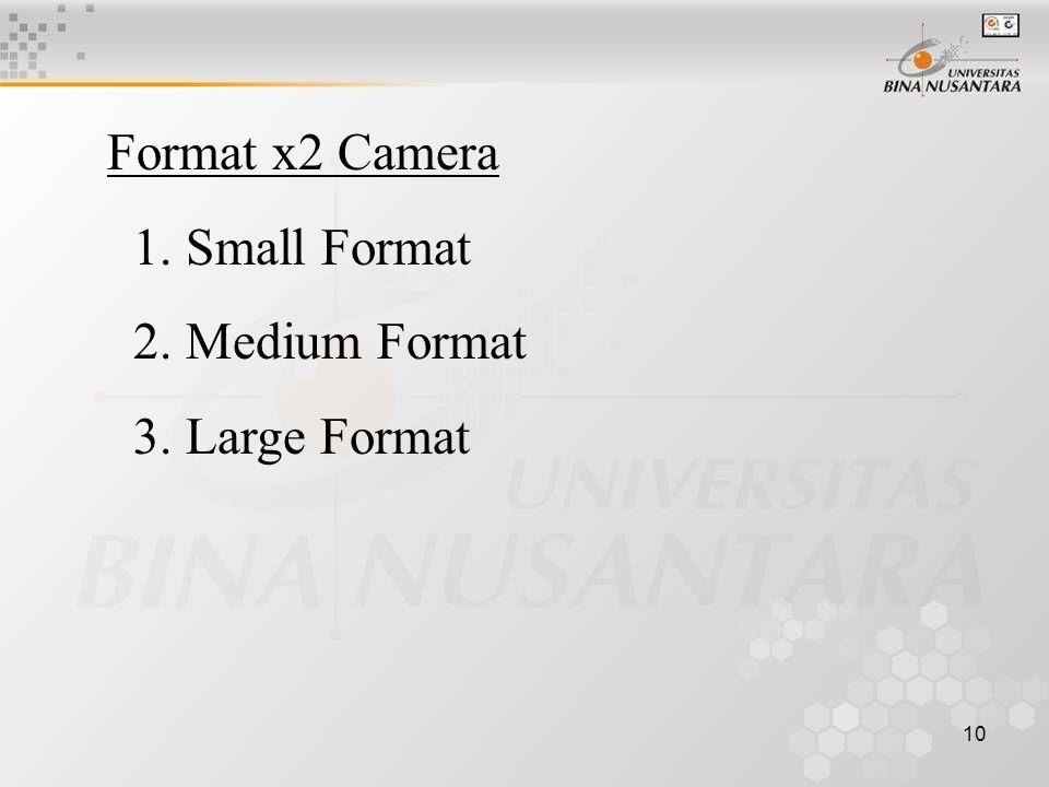 10 Format x2 Camera 1. Small Format 2. Medium Format 3. Large Format