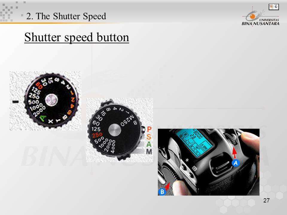 27 Shutter speed button 2. The Shutter Speed