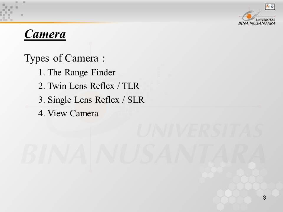 3 Types of Camera : 1. The Range Finder 2. Twin Lens Reflex / TLR 3.