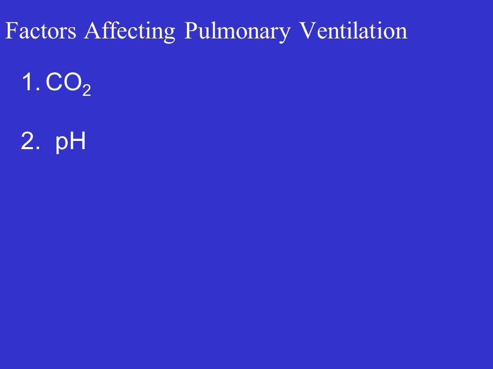 Factors Affecting Pulmonary Ventilation 1.CO 2 2. pH