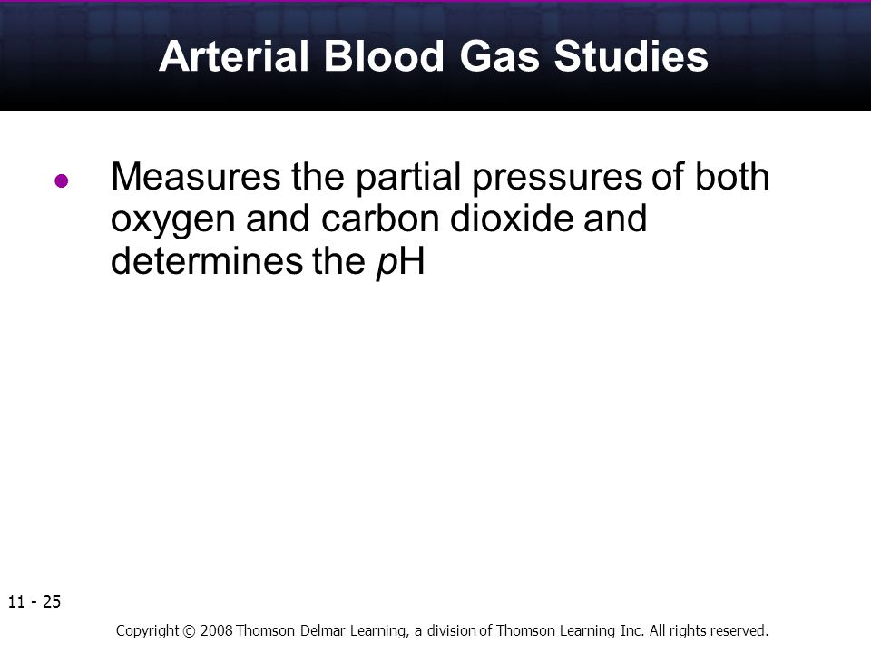 Copyright © 2008 Thomson Delmar Learning, a division of Thomson Learning Inc. All rights reserved. 11 - 25 Arterial Blood Gas Studies Measures the par