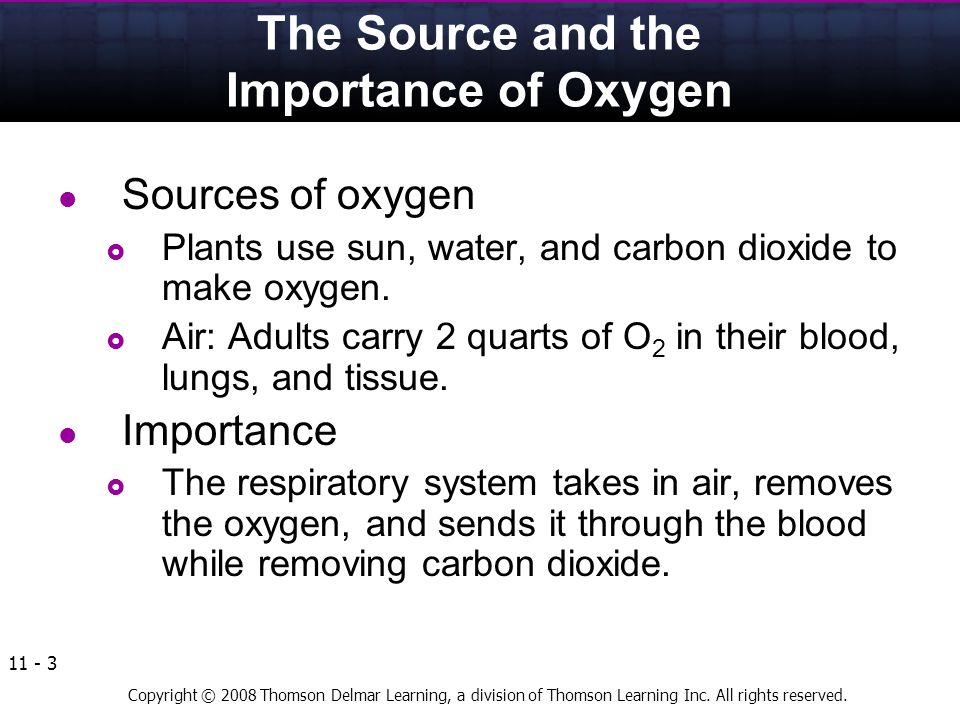 Copyright © 2008 Thomson Delmar Learning, a division of Thomson Learning Inc. All rights reserved. 11 - 3 The Source and the Importance of Oxygen Sour
