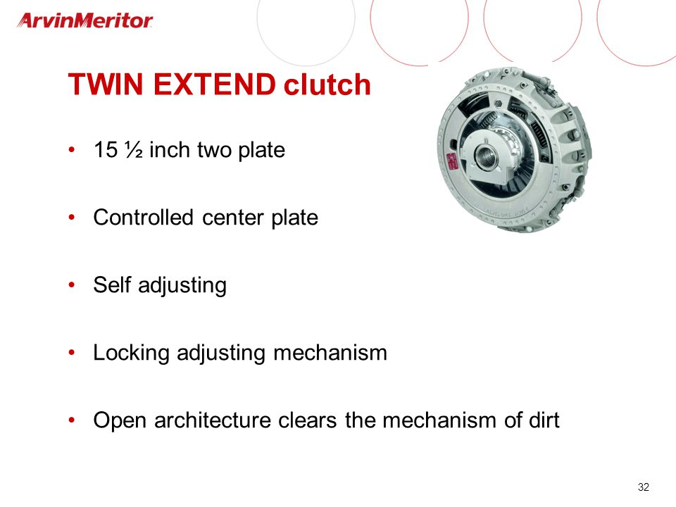 32 TWIN EXTEND clutch 15 ½ inch two plate Controlled center plate Self adjusting Locking adjusting mechanism Open architecture clears the mechanism of