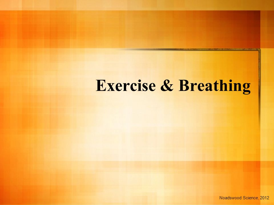 Exercise & Breathing Noadswood Science, 2012